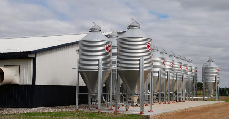 Photo of lines of feed bins outside of new swine unit at South Dakota State University