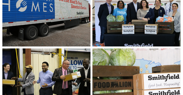 Smithfield Foods Inc. and Food Lion joined forces to donate more than 125,000 pounds of protein and 9,000 pounds of fresh produce to multiple food banks across North Carolina to assist communities affected by Hurricane Florence. Building on Smithfield's initial 120,000-pound protein donation immediately after the storm, this donation was part of the company's 2018 Helping Hungry Homes donation tour.