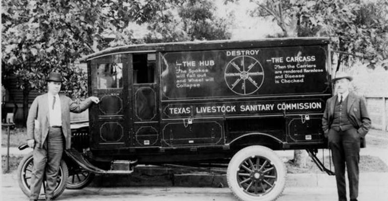 Two men stand next to the Texas Livestock Sanitary Commission van, whose purpose was to dispose of carcasses, and other materials that would be in danger of contaminating the water, wind or the ground.