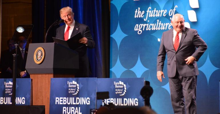 President Donald Trump and USDA Secretary Sonny Perdue spoke at the 2018 American Farm Bureau Federation convention