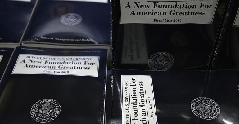 Stacks of President Donald Trump's FY2018 budget proposal are seen during a photo availability May 23, 2017 on Capitol Hill in Washington, DC. President Trump has sent his FY2018 budget proposal request to the Congress.
