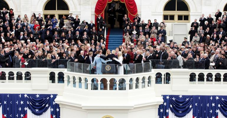 Wide shot of the inauguration of Donald Trump as the 45th President of the United States; Jan. 20, 2017