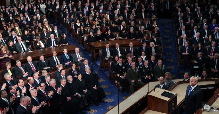 U.S. President Donald J. Trump delivers the State of the Union address in the chamber of the U.S. House of Representatives Jan. 30, 2018 in Washington, DC.