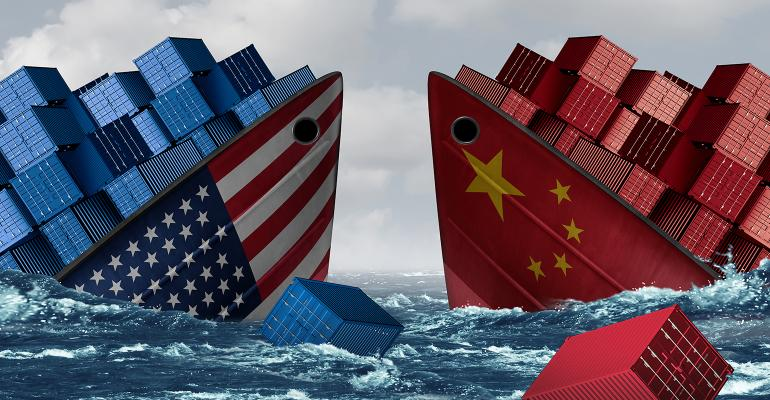 Illustration of U.S. and Chinese ships sinking