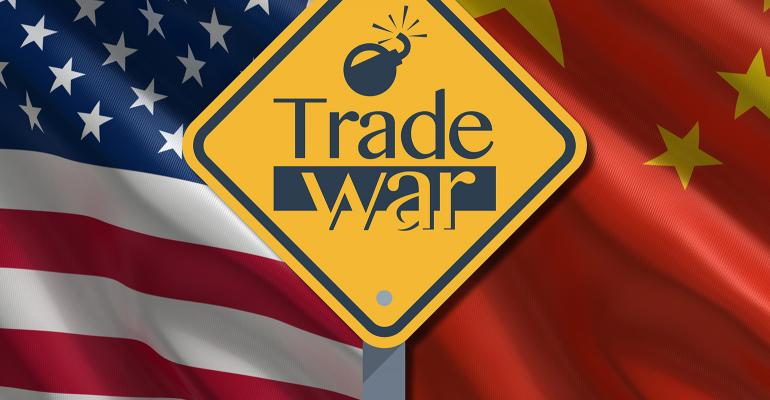 U.S.-China trade wars ticking bomb sign