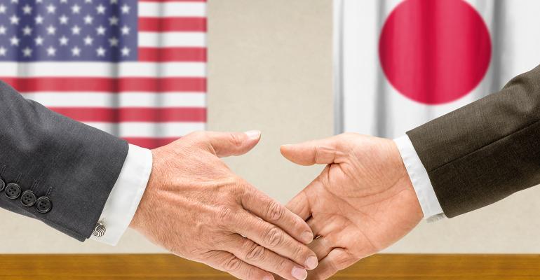 handshake between U.S. and Japan