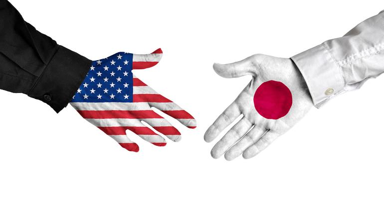 Illustration of U.S. and Japan painted handshake