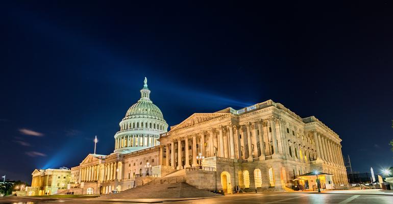 U.S capitol at night