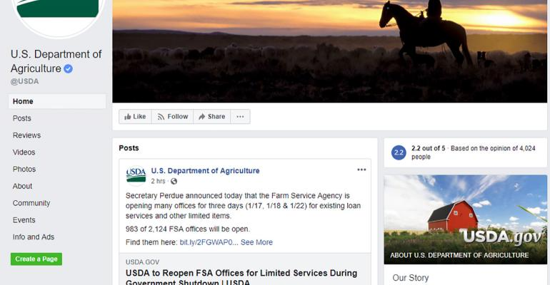 USDA Facebook screengrab