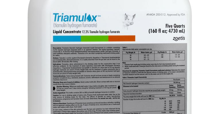 Marketed by Zoetis, Triamulox Liquid Concentrate may be added to pigs' drinking water to treat pneumonia and dysentery.