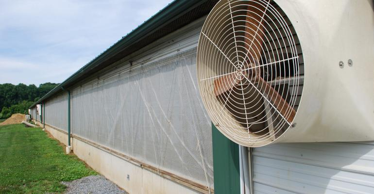 The exterior of a pig barn sidewall showing fan and curtain