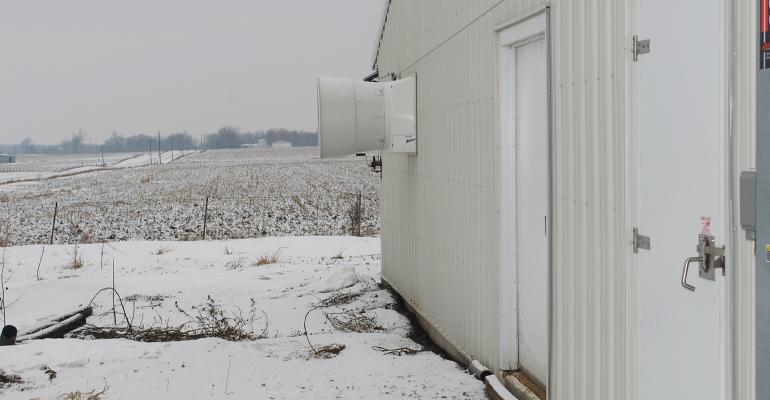 Hog barn in the winter