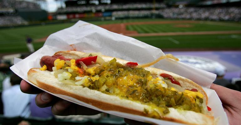 Baseball and hot dogs just go together