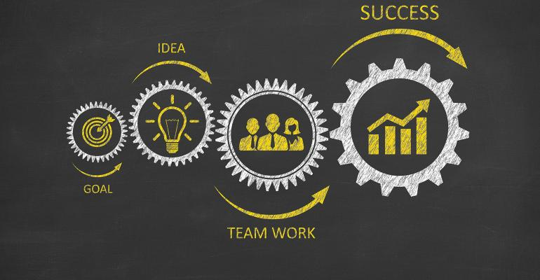 illustration of cogs in the wheels of success