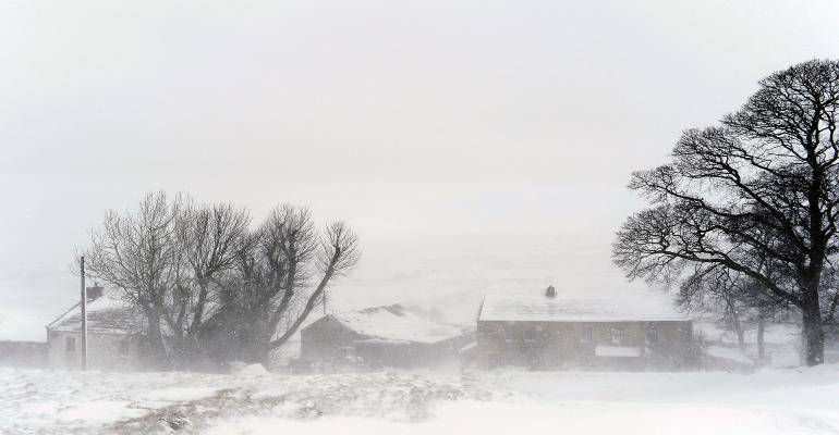 Farm site during a blizzard