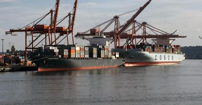 Ships being loaded with containers for export to overseas markets
