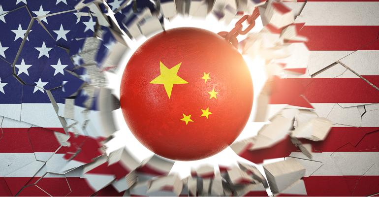 Illustration of China wrecking ball smashing through U.S. flag