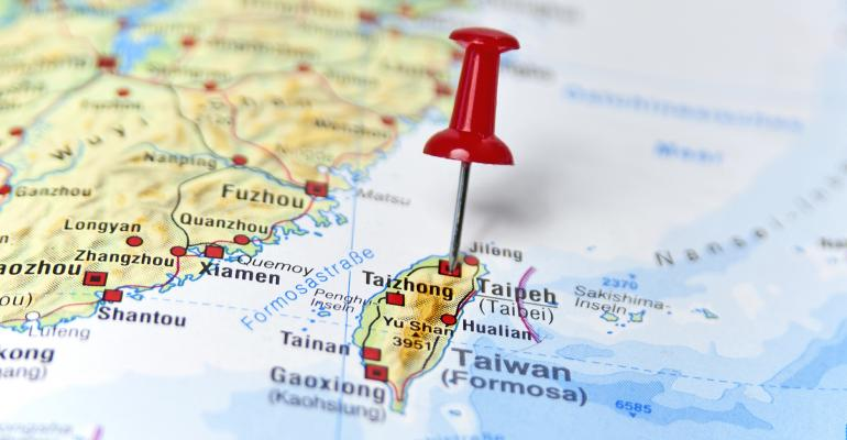 Map of Taiwan with a stick pin