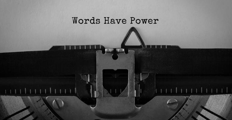 "typewriter ""Words have power"""