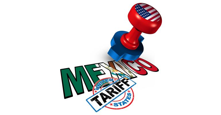 Illustration of rubber stamp of U.S. tariffs on Mexico