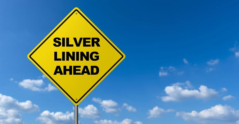 Silver lining ahead road sign