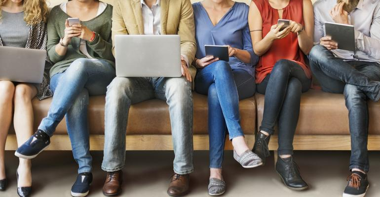 People on variety of mobile devices