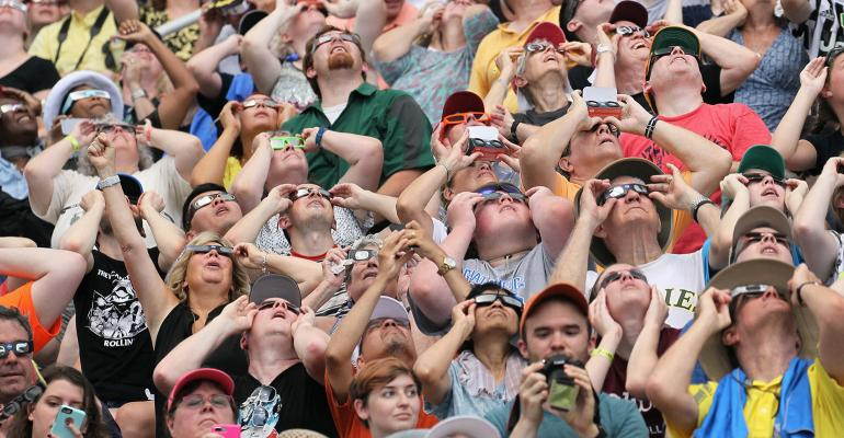 Large crowds of people witnessed the 2017 solar eclipse across the United States.