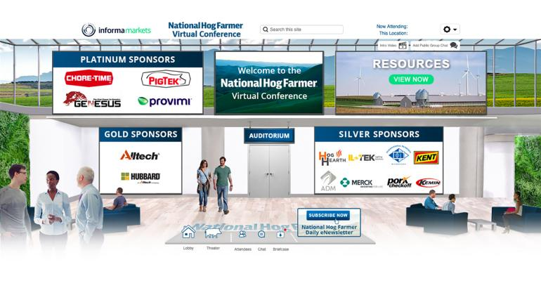 Screen shot of the lobby of National Hog Farmer's Global Hog Industry Virtual Conference