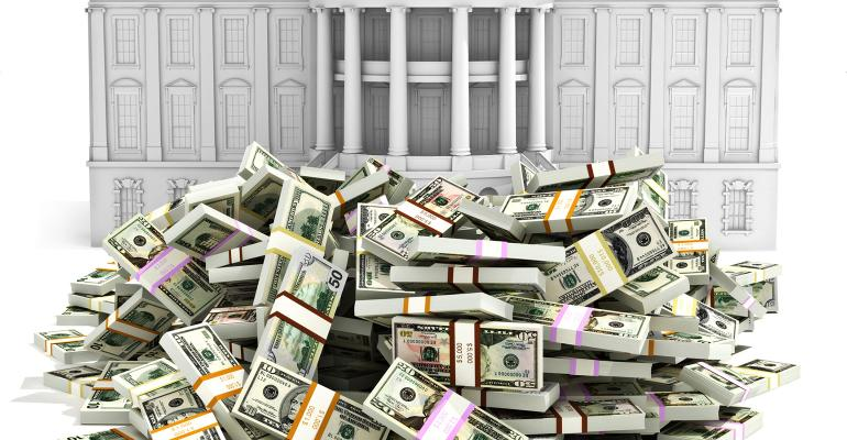 Illustration of a pile of money in front of the White House