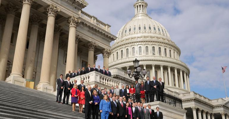 Incoming Republican and Democratic members of Congress pose for a group photograph on the steps of the House of Representatives November 15, 2016 in Washington, DC.