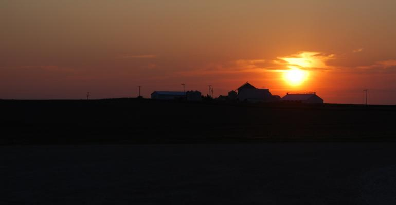 Sunset over U.S. hog farm