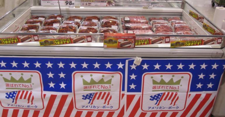 Pork in meat case