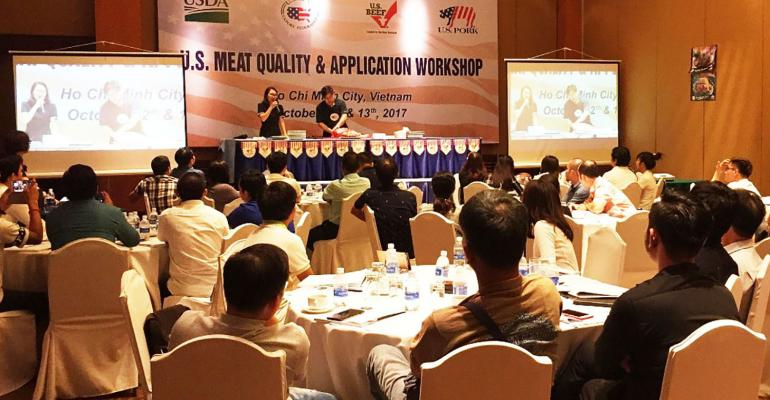 U.S. pork cutting demonstrations were a big part of the U.S. Red Meat Quality and Application Workshop in Vietnam, which attracted 115 participants from across Southeast Asia