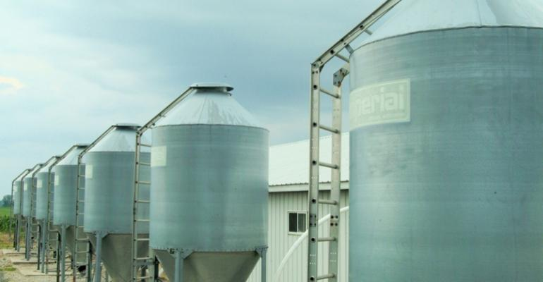 row of feed bins