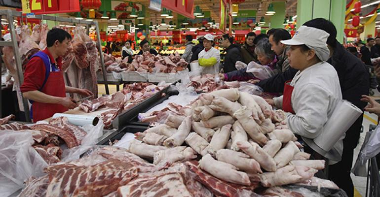 pork in a Chinese market