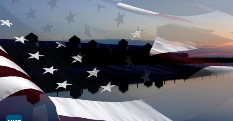Hog farm with U.S. Flag overlay