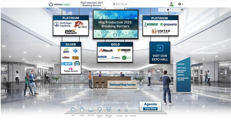 Computer image of the lobby of the October 2020 Global Hog Industry Virtual Conference