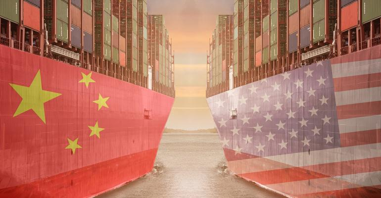 Illustration of two ships, one with the China flag and one with the U.S. flag loaded with freight containers