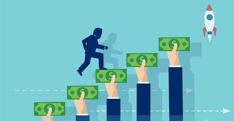 Illustration of chasing opportunity to make money