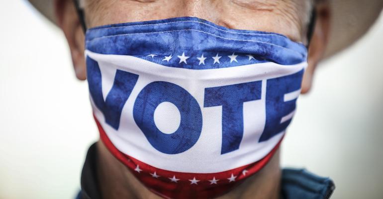 Vote 2020 masked election judge