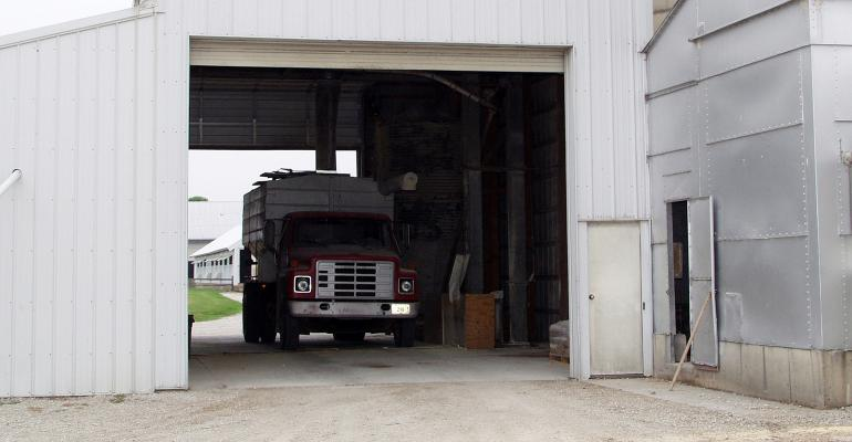 Feed truck in the loading bay at the mill