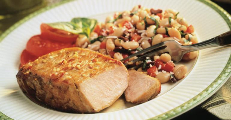 plated pork chop dinner