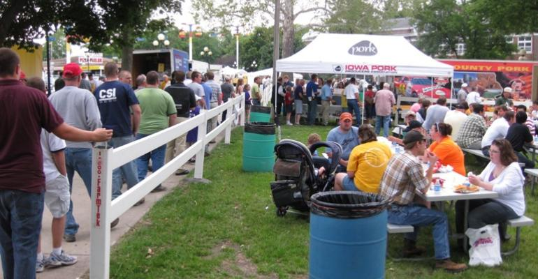 World Pork Expo attendees line up for the Big Grill