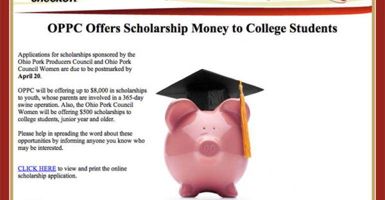 Ohio Pork Producers Council Offers Scholarship Money to College Students