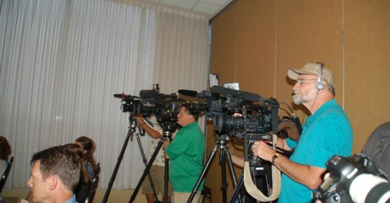 Banks of video cameras at the Mercy for Animals press conference