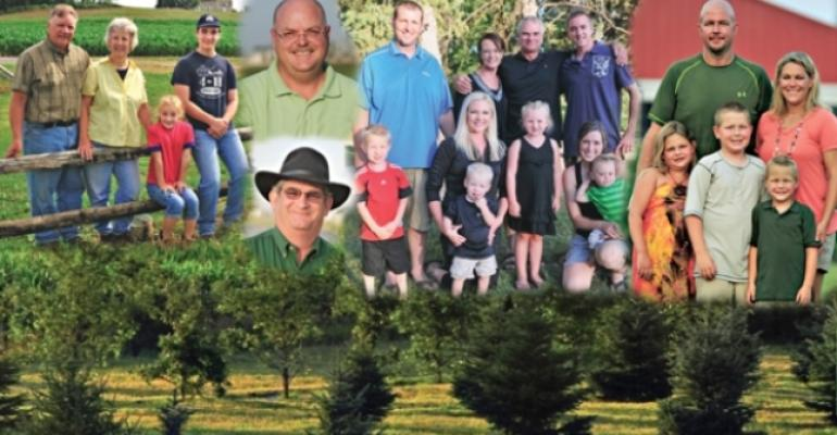 The 2012 Pork Industry Environmental Stewards include from left the Jeff and Sue Frey family Bill Barnes top and Jeff Mencke hat the Wayne and Laura Dahl family and the Ryan and Lana Reed family