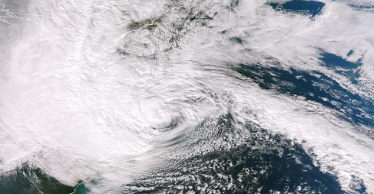 Hurricane Sandy moves over land