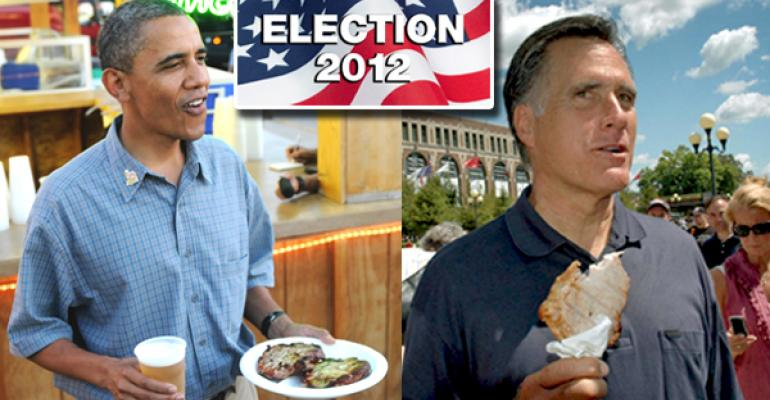 President Obama and former Governor Romney with pork chops