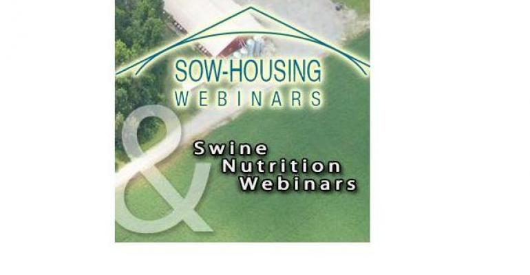 Sow Housing and Swine Nutrition Webinars are coming up