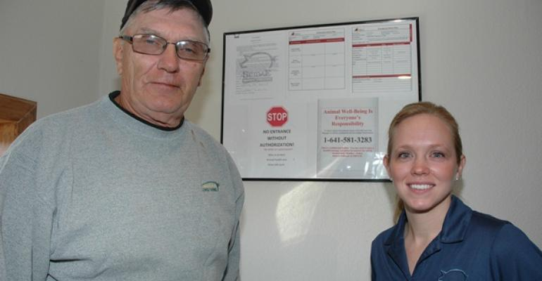 Iowa pork producer Riley Lewis and Suidae Animal Health veterinarian Amber Stricker have worked together to build a customized onfarm program that prepares Lewis for a possible packer audit